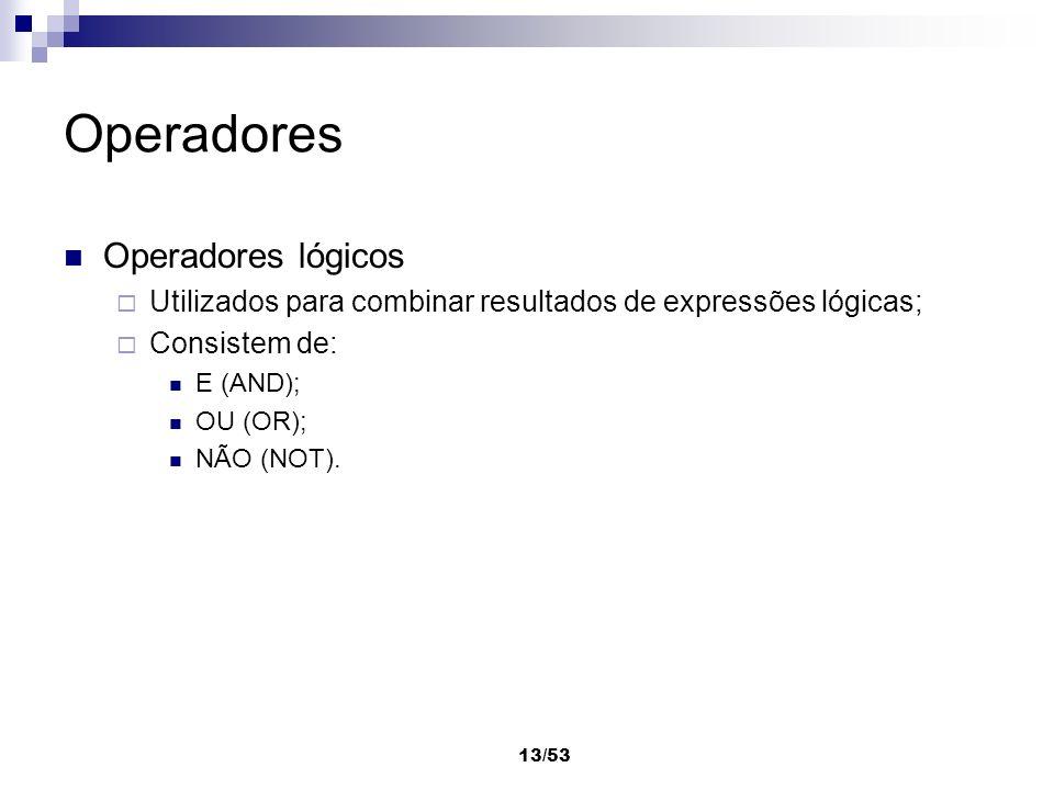 Operadores Operadores lógicos