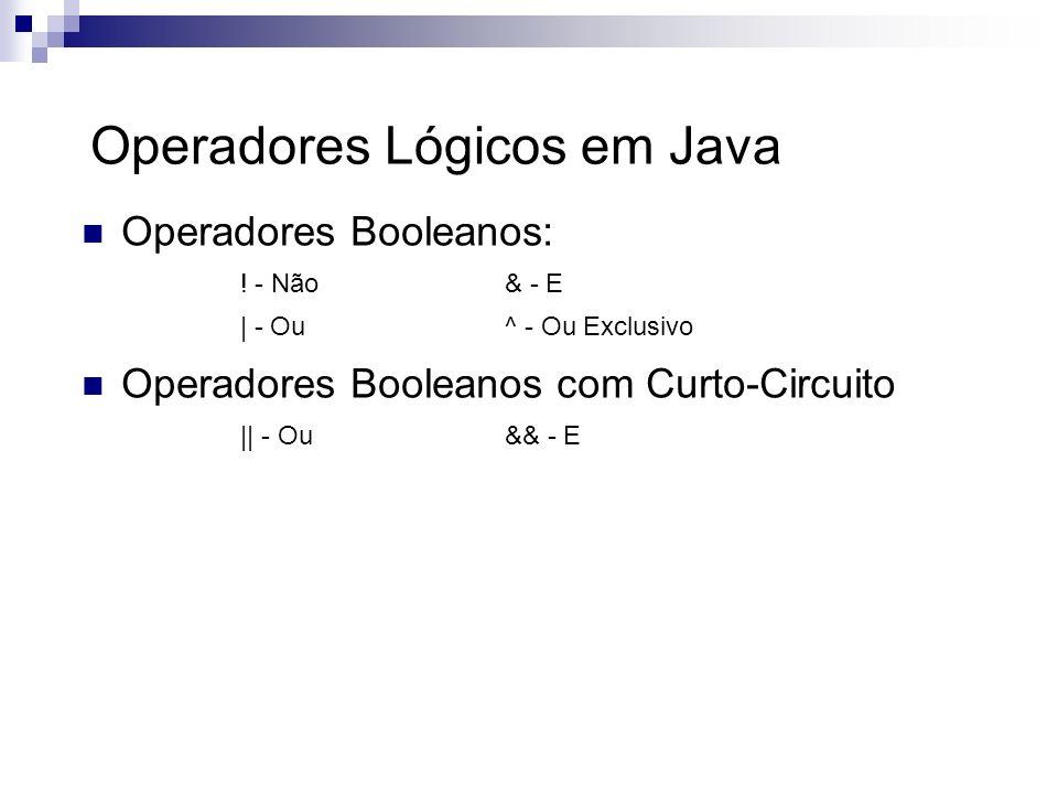 Operadores Lógicos em Java