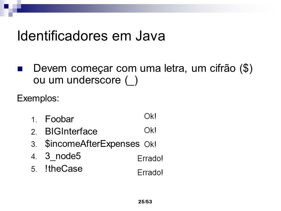 Identificadores em Java