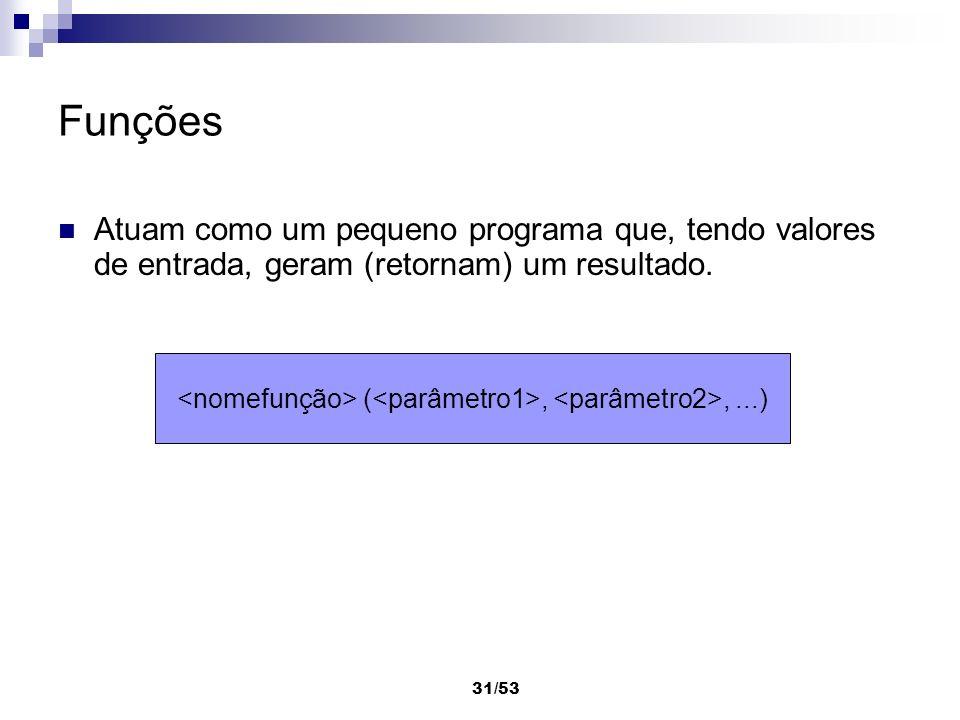 <nomefunção> (<parâmetro1>, <parâmetro2>, ...)