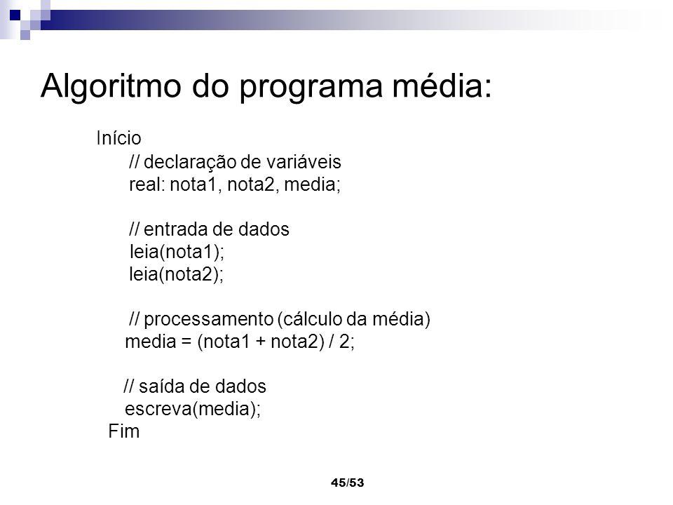 Algoritmo do programa média: