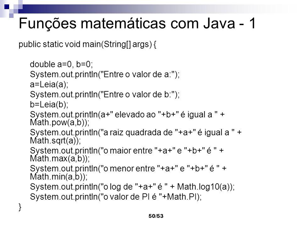 Funções matemáticas com Java - 1