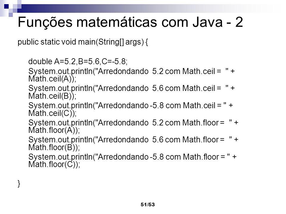 Funções matemáticas com Java - 2