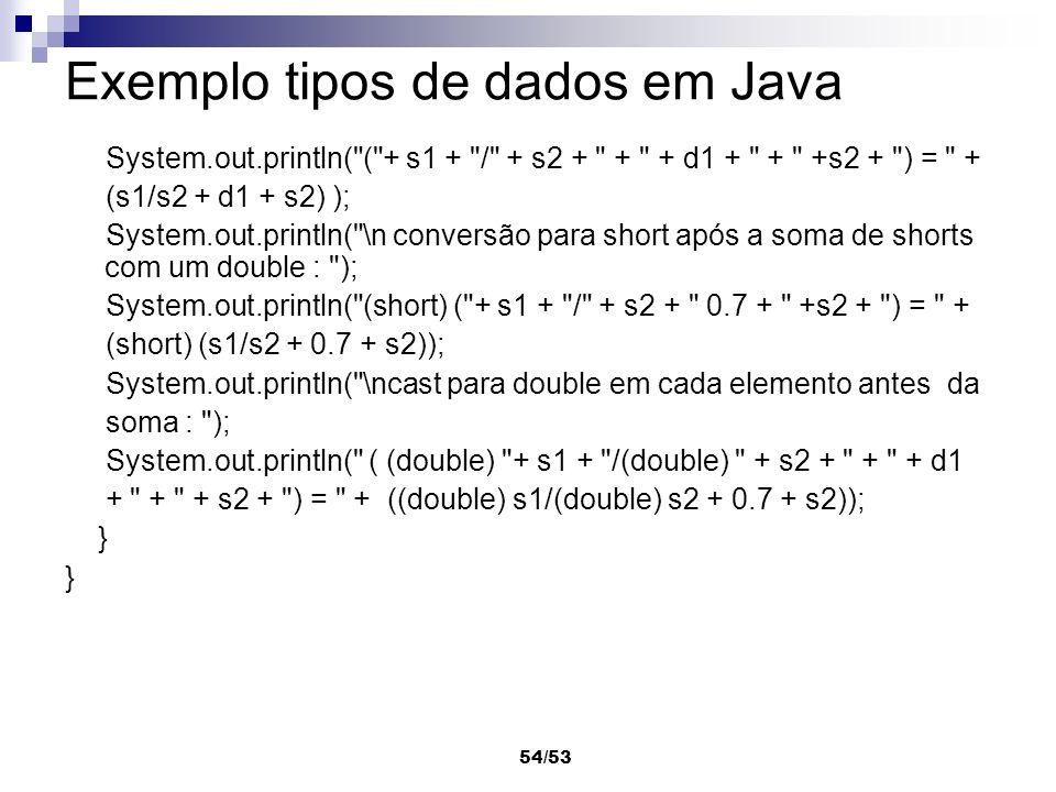 Exemplo tipos de dados em Java