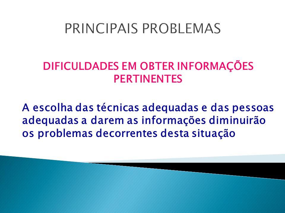 DIFICULDADES EM OBTER INFORMAÇÕES PERTINENTES