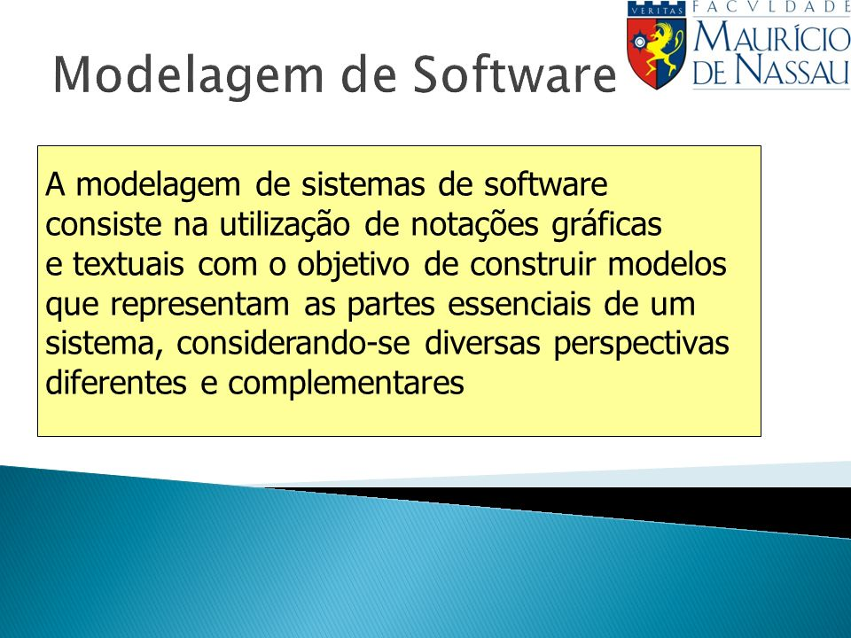 Modelagem de Software A modelagem de sistemas de software