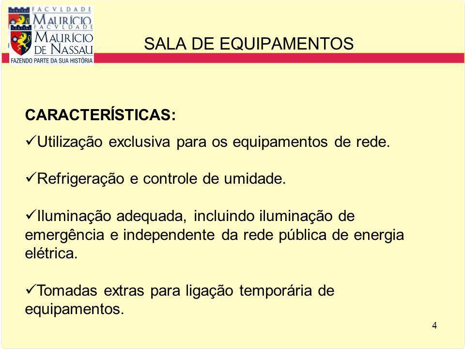 SALA DE EQUIPAMENTOS CARACTERÍSTICAS: