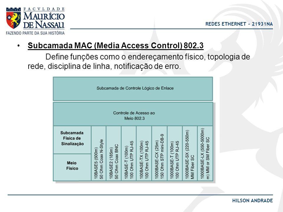 Subcamada MAC (Media Access Control) 802.3