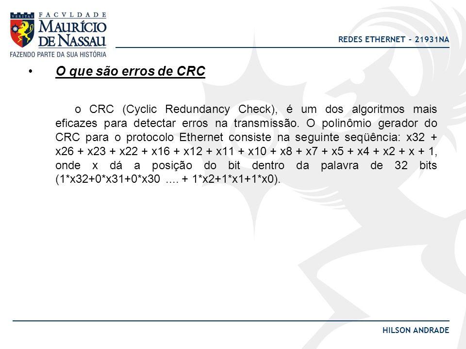 O que são erros de CRC