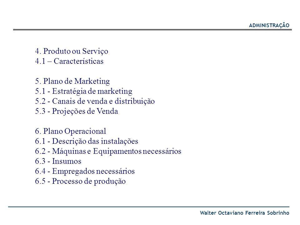 4. Produto ou Serviço 4.1 – Características. 5. Plano de Marketing. 5.1 - Estratégia de marketing.