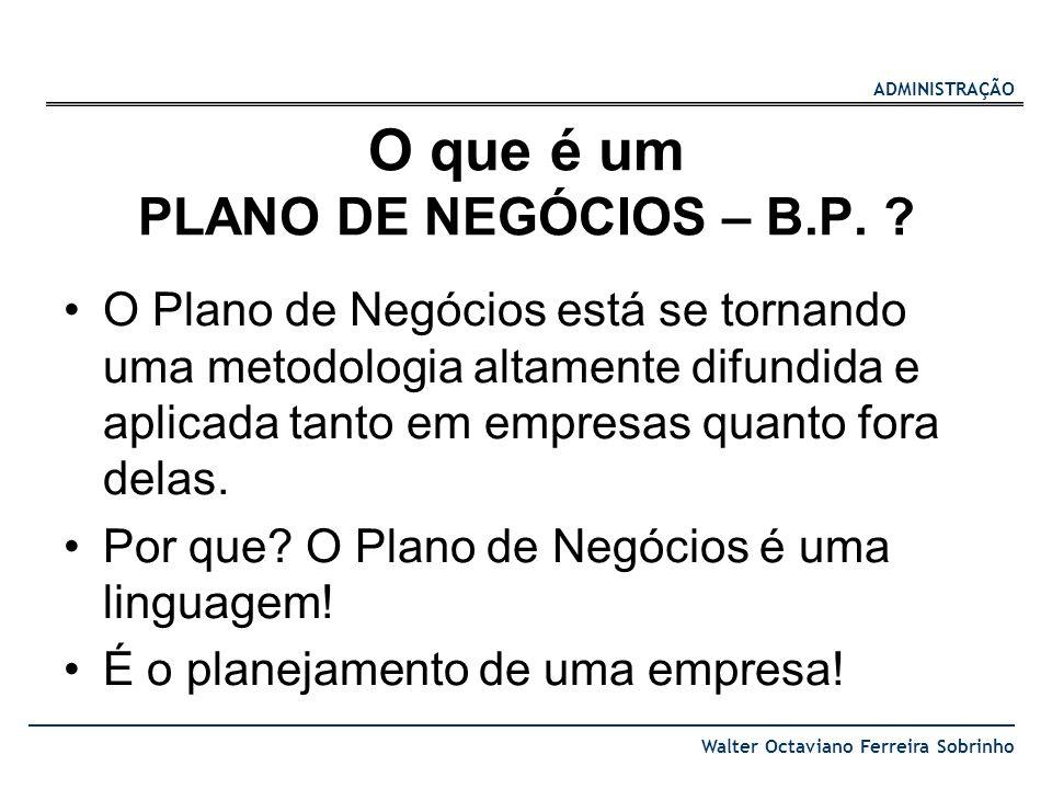 O que é um PLANO DE NEGÓCIOS – B.P.