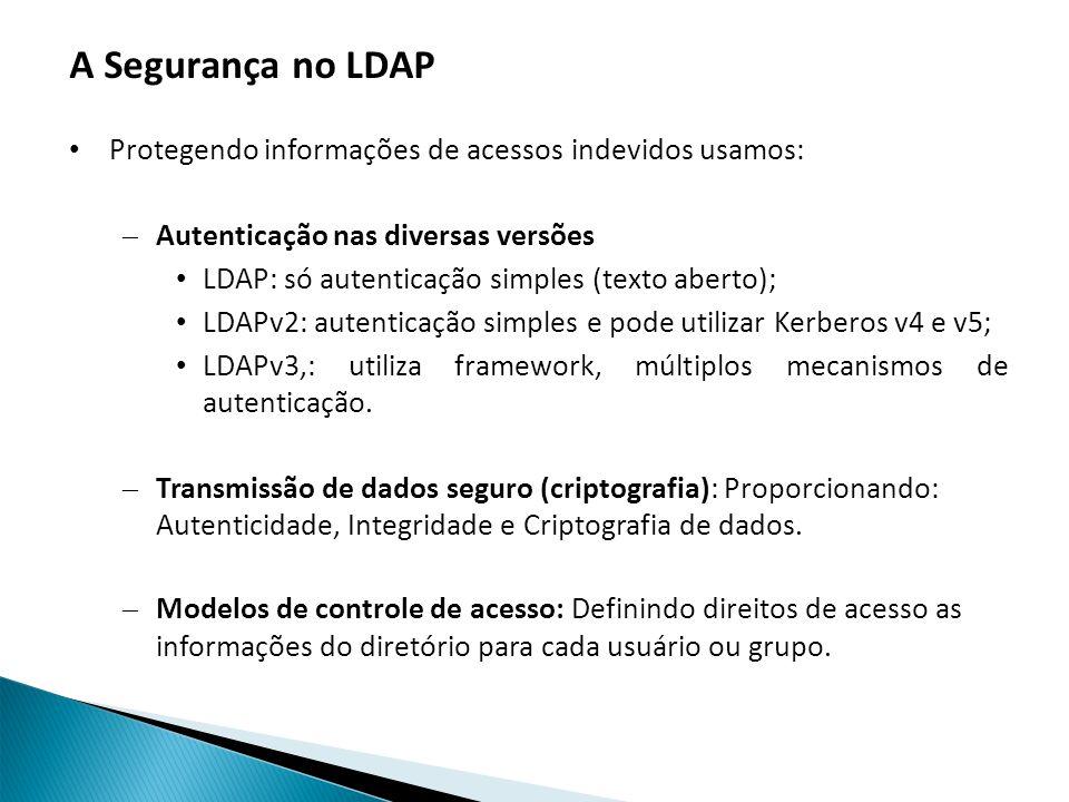 A Segurança no LDAP Protegendo informações de acessos indevidos usamos: Autenticação nas diversas versões.
