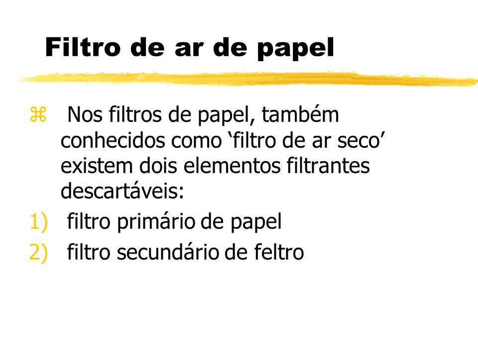 Filtro de ar de papelNos filtros de papel, também conhecidos como 'filtro de ar seco' existem dois elementos filtrantes descartáveis: