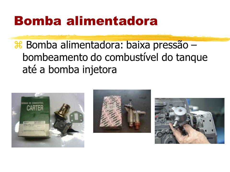 Bomba alimentadoraBomba alimentadora: baixa pressão – bombeamento do combustível do tanque até a bomba injetora.