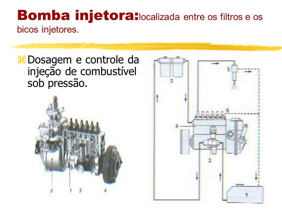 Bomba injetora:localizada entre os filtros e os bicos injetores.