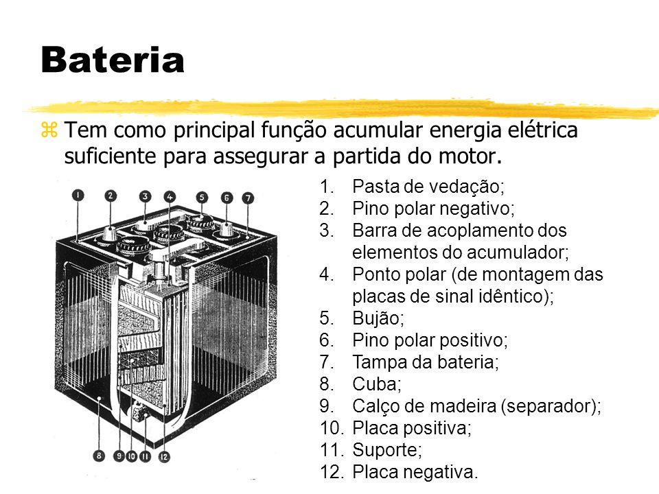 Bateria Tem como principal função acumular energia elétrica suficiente para assegurar a partida do motor.
