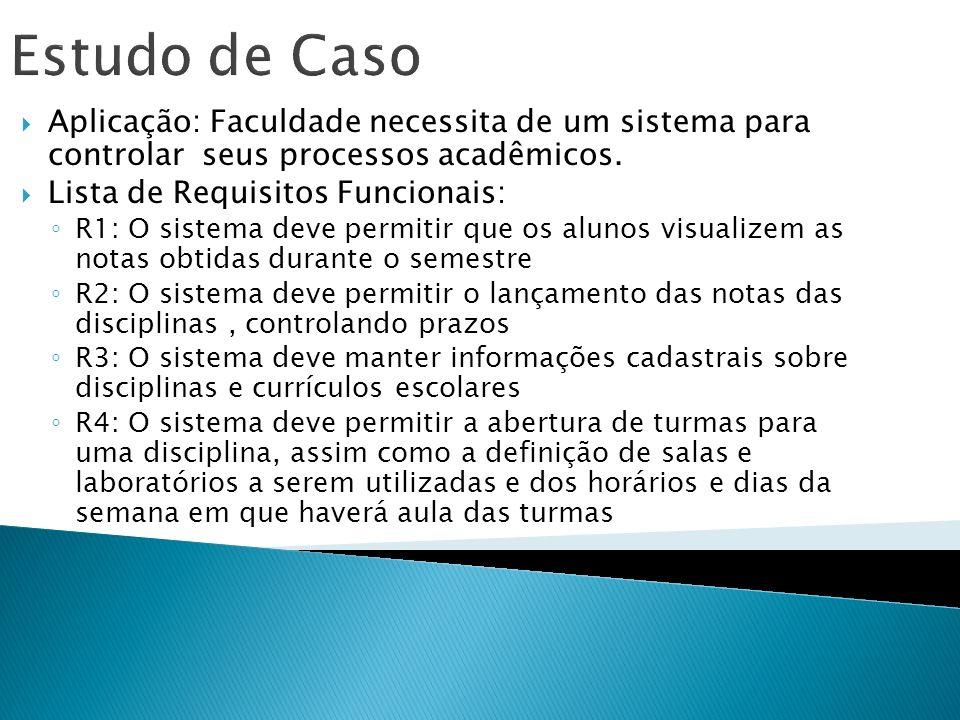 Estudo de Caso Aplicação: Faculdade necessita de um sistema para controlar seus processos acadêmicos.