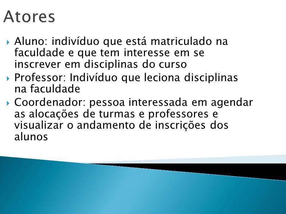 AtoresAluno: indivíduo que está matriculado na faculdade e que tem interesse em se inscrever em disciplinas do curso.