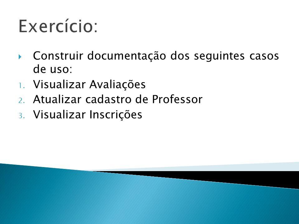 Exercício: Construir documentação dos seguintes casos de uso: