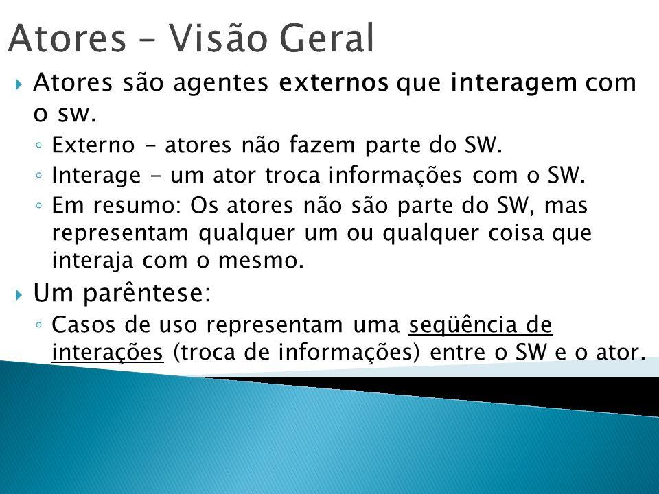 Atores – Visão Geral Atores são agentes externos que interagem com o sw. Externo - atores não fazem parte do SW.