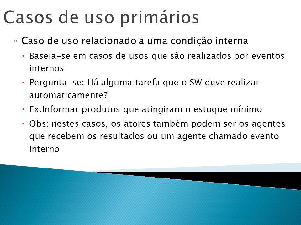 Casos de uso primários Caso de uso relacionado a uma condição interna