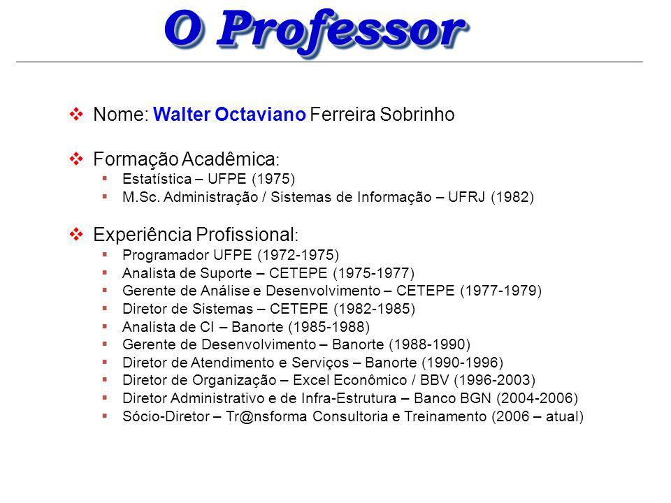 O Professor Nome: Walter Octaviano Ferreira Sobrinho