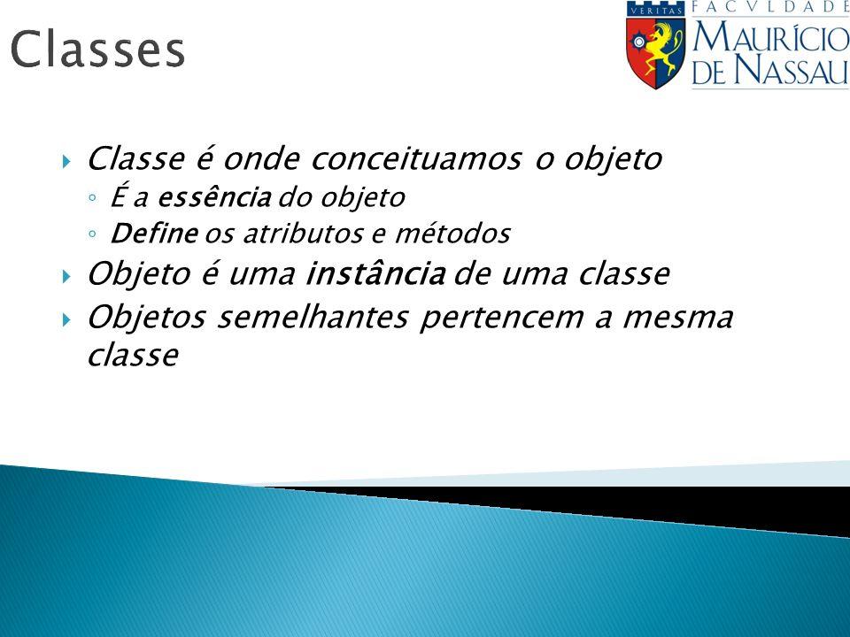 Classes Classe é onde conceituamos o objeto