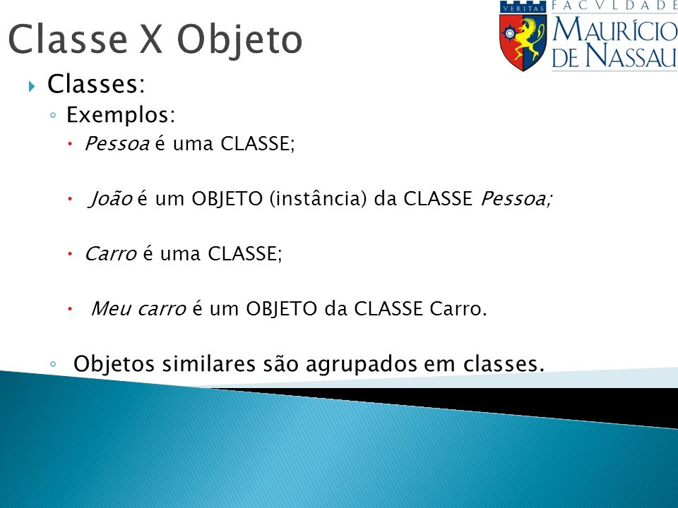 Classe X Objeto Classes: Exemplos: