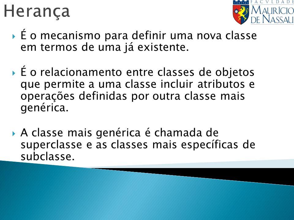 Herança É o mecanismo para definir uma nova classe em termos de uma já existente.