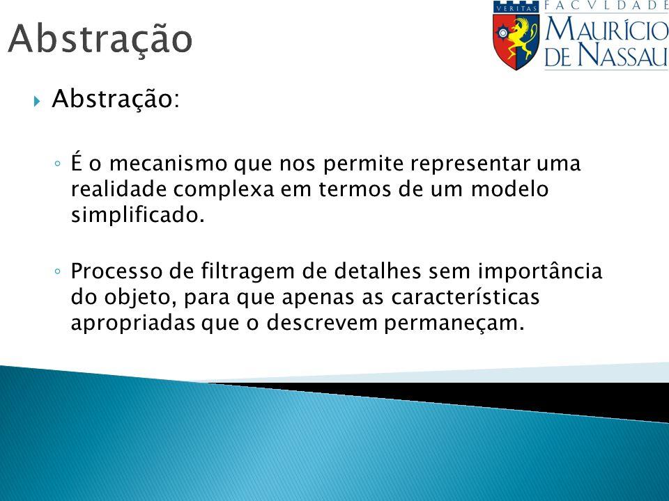 Abstração Abstração: É o mecanismo que nos permite representar uma realidade complexa em termos de um modelo simplificado.