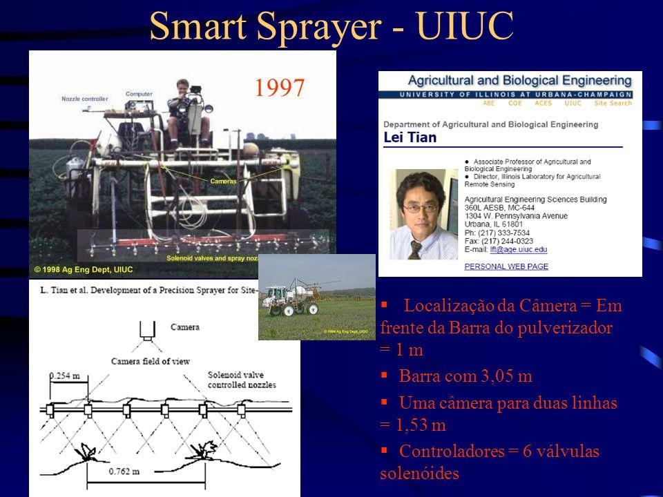 Smart Sprayer - UIUC 1997. Localização da Câmera = Em frente da Barra do pulverizador = 1 m. Barra com 3,05 m.