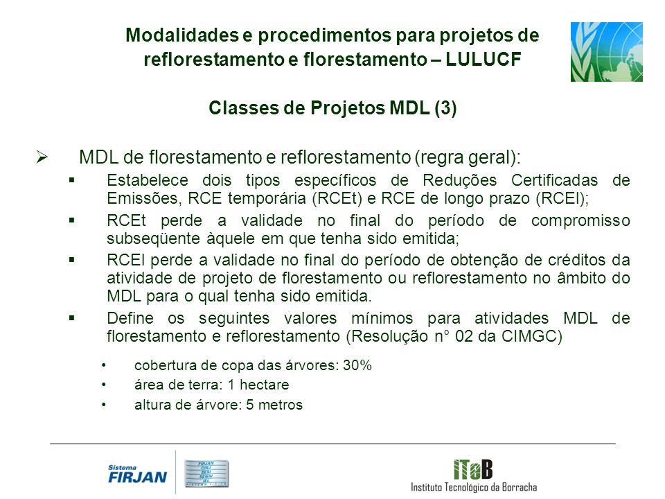 Modalidades e procedimentos para projetos de