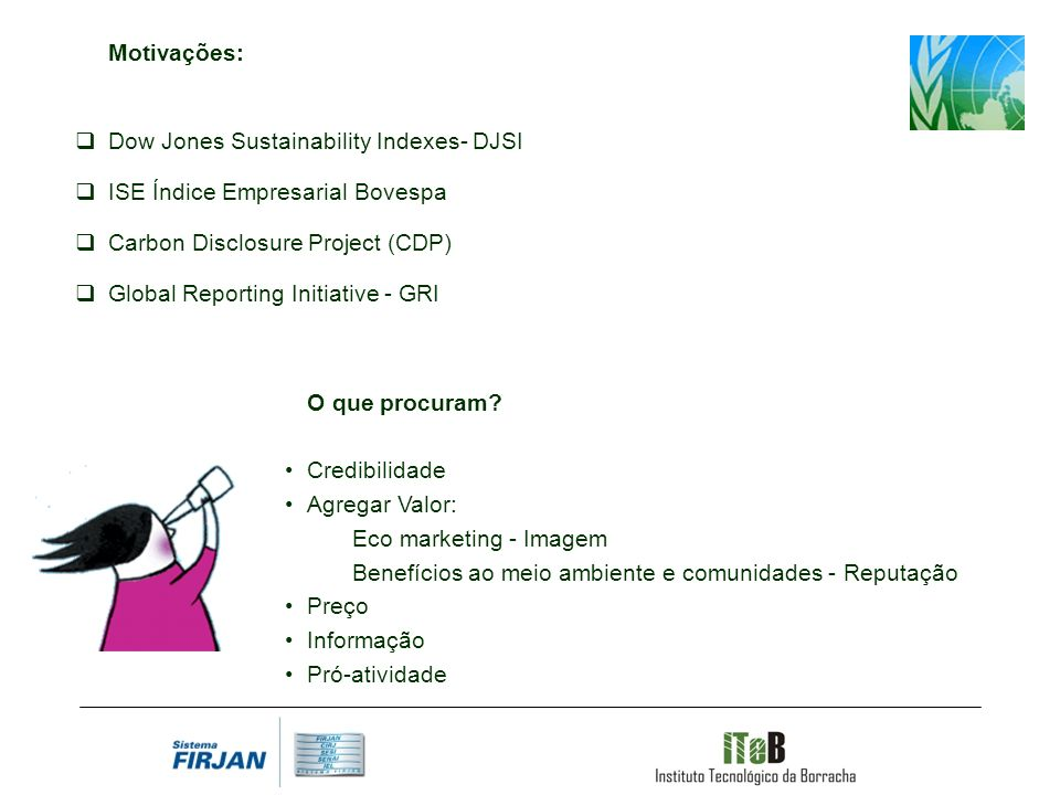 Motivações: Dow Jones Sustainability Indexes- DJSI. ISE Índice Empresarial Bovespa. Carbon Disclosure Project (CDP)