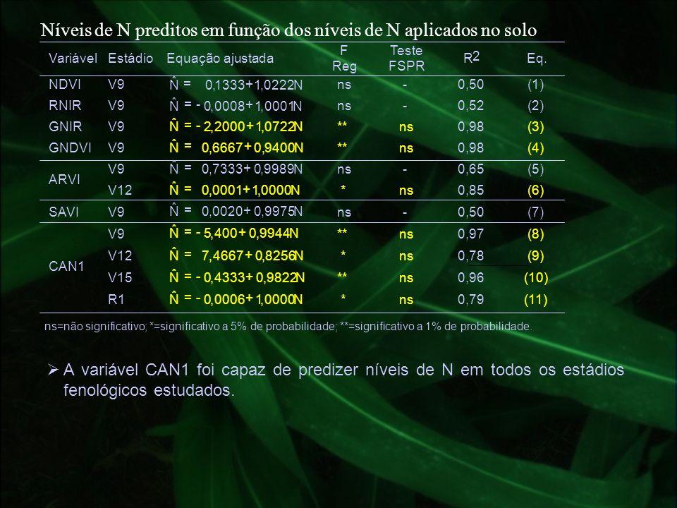 Níveis de N preditos em função dos níveis de N aplicados no solo