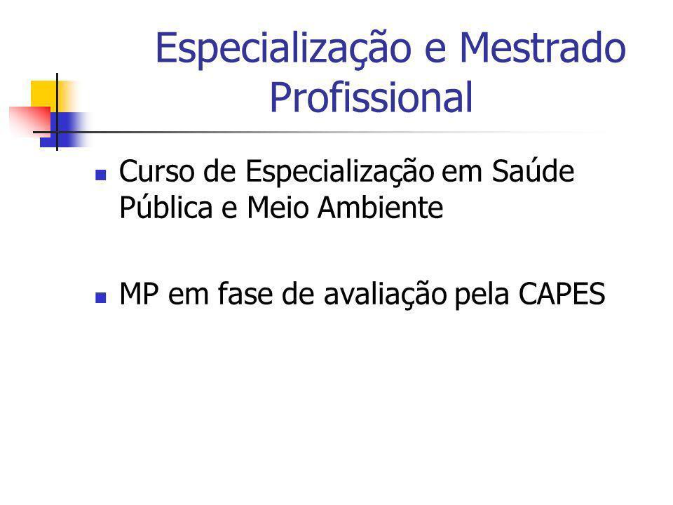 Especialização e Mestrado Profissional