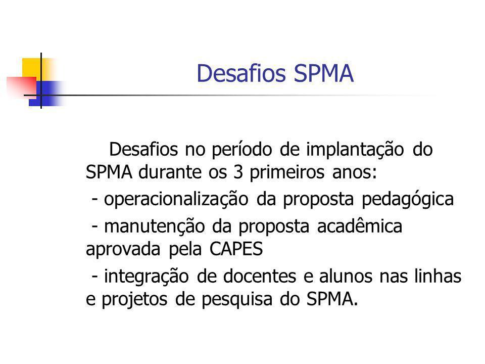 Desafios SPMA Desafios no período de implantação do SPMA durante os 3 primeiros anos: - operacionalização da proposta pedagógica.