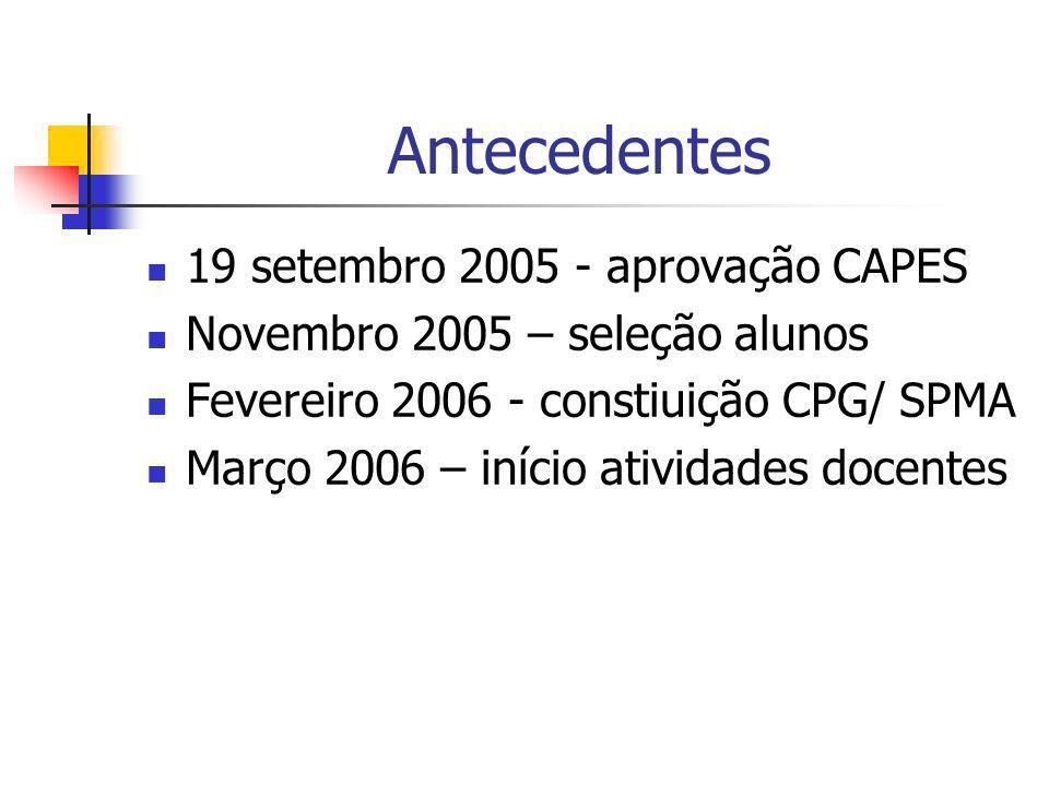 Antecedentes 19 setembro 2005 - aprovação CAPES