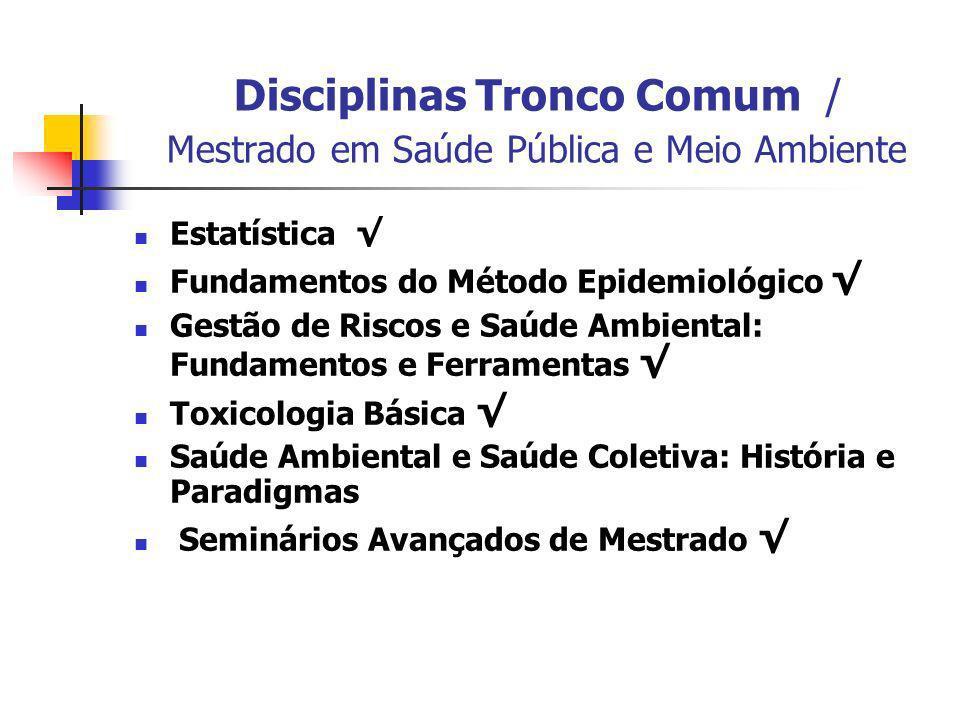 Disciplinas Tronco Comum / Mestrado em Saúde Pública e Meio Ambiente