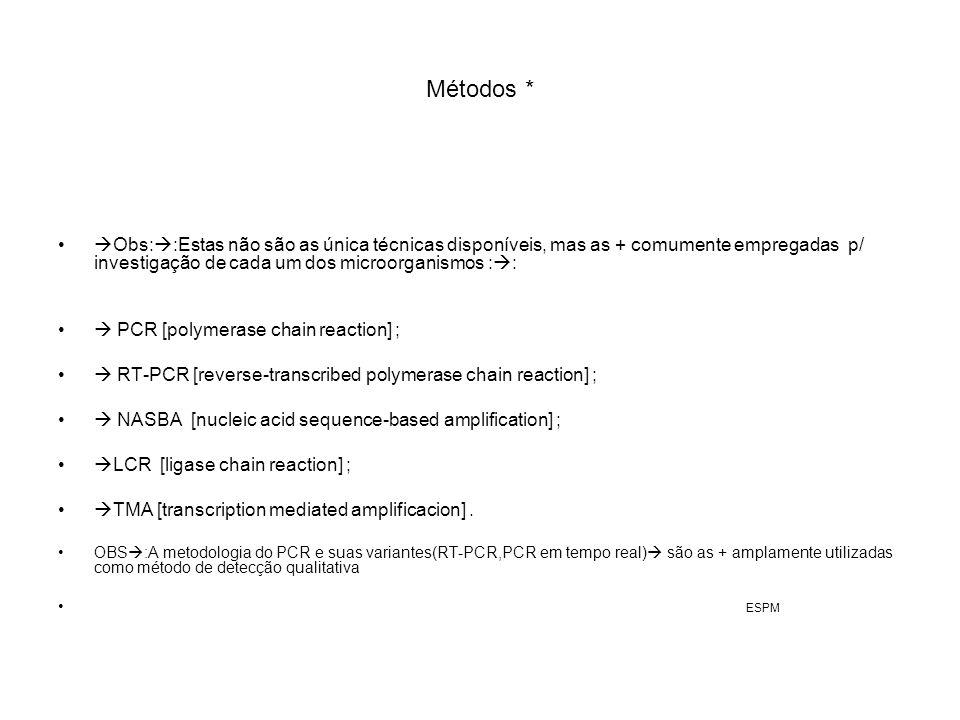 Métodos * Obs::Estas não são as única técnicas disponíveis, mas as + comumente empregadas p/ investigação de cada um dos microorganismos ::