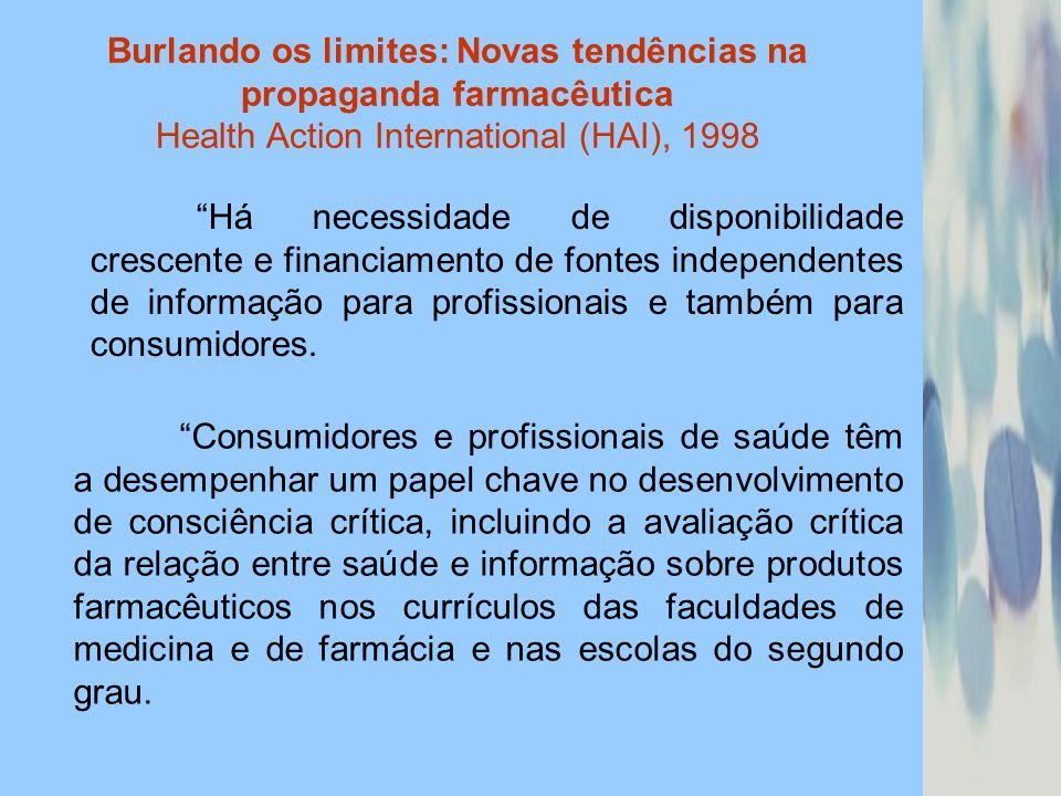 Burlando os limites: Novas tendências na propaganda farmacêutica Health Action International (HAI), 1998