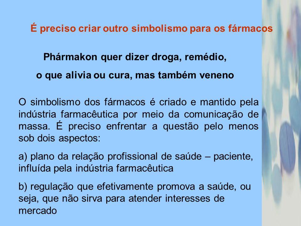 É preciso criar outro simbolismo para os fármacos