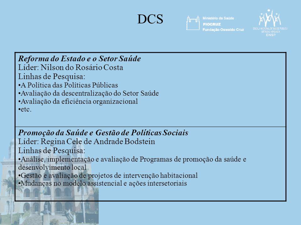 DCS Reforma do Estado e o Setor Saúde Líder: Nilson do Rosário Costa
