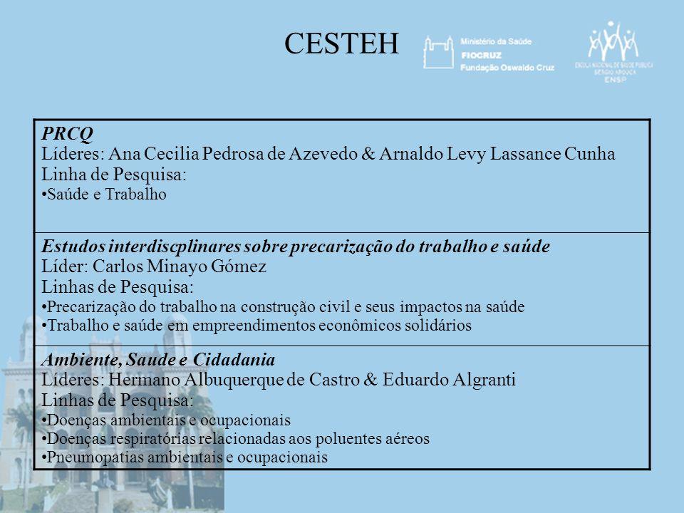CESTEH PRCQ. Líderes: Ana Cecilia Pedrosa de Azevedo & Arnaldo Levy Lassance Cunha. Linha de Pesquisa:
