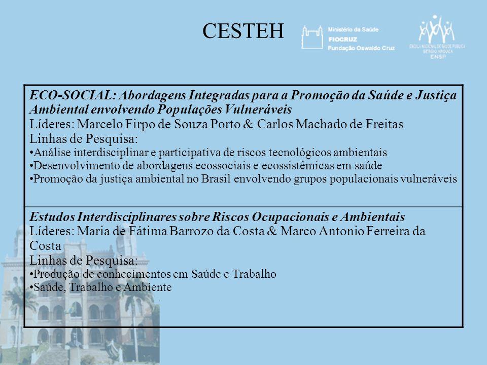 CESTEH ECO-SOCIAL: Abordagens Integradas para a Promoção da Saúde e Justiça Ambiental envolvendo Populações Vulneráveis.
