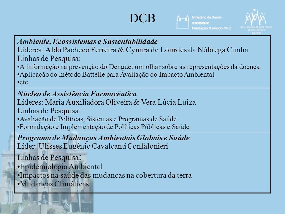 DCB Ambiente, Ecossistemas e Sustentabilidade