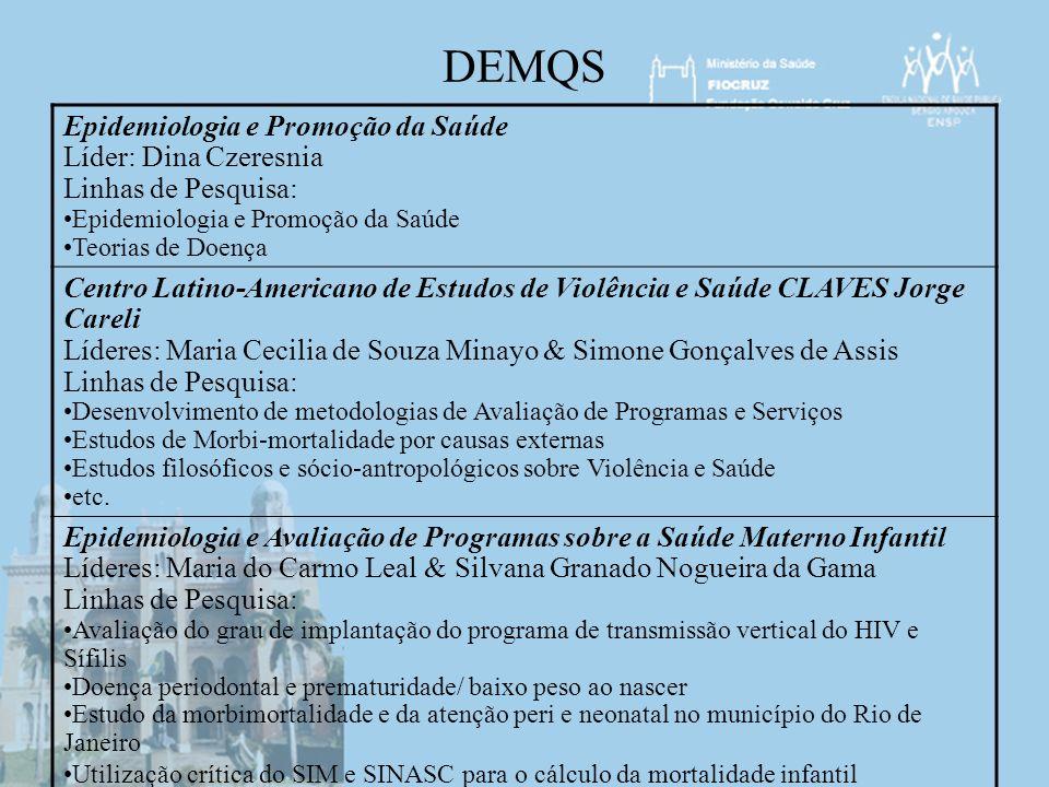 DEMQS Epidemiologia e Promoção da Saúde Líder: Dina Czeresnia