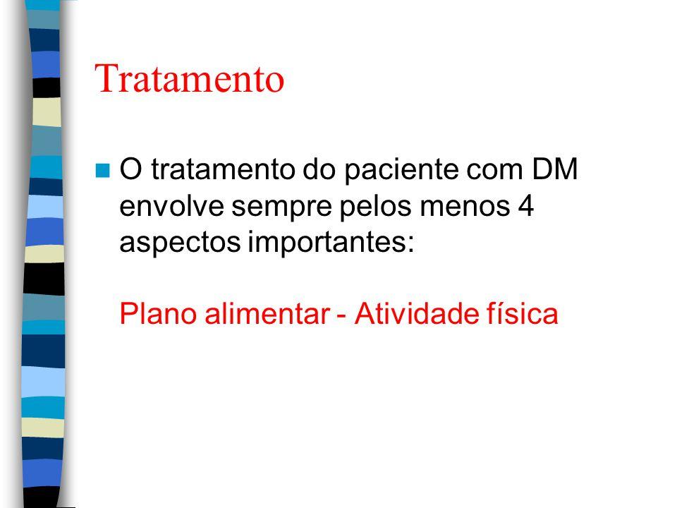Tratamento O tratamento do paciente com DM envolve sempre pelos menos 4 aspectos importantes: Plano alimentar - Atividade física.