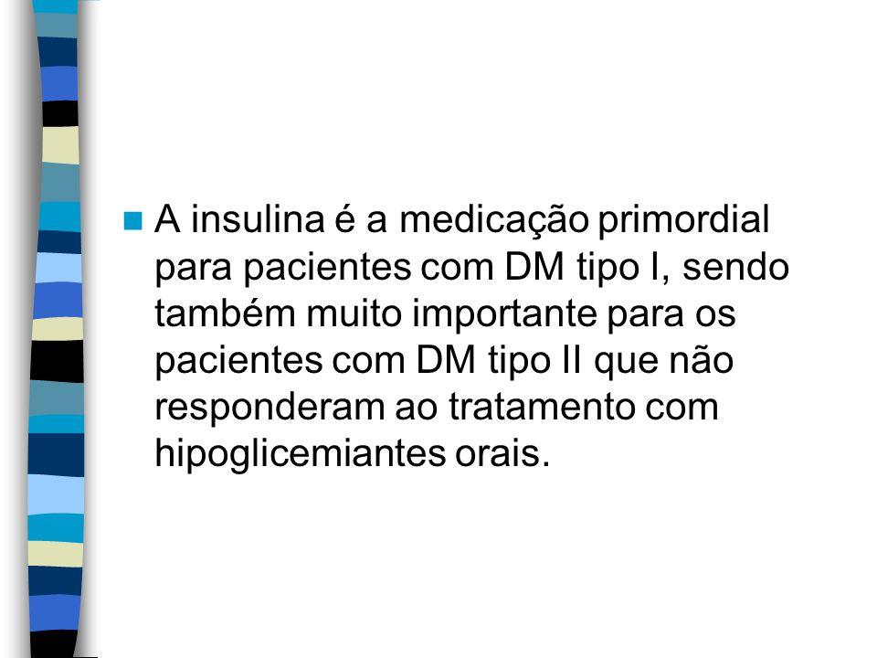 A insulina é a medicação primordial para pacientes com DM tipo I, sendo também muito importante para os pacientes com DM tipo II que não responderam ao tratamento com hipoglicemiantes orais.