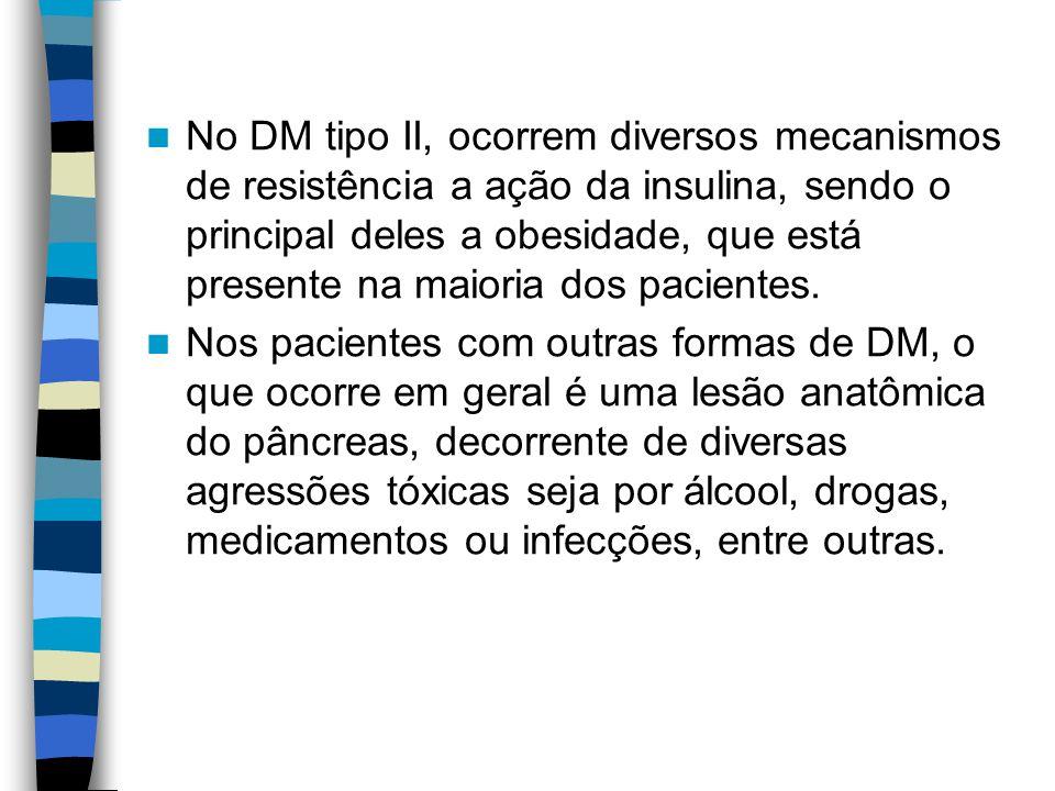 No DM tipo II, ocorrem diversos mecanismos de resistência a ação da insulina, sendo o principal deles a obesidade, que está presente na maioria dos pacientes.