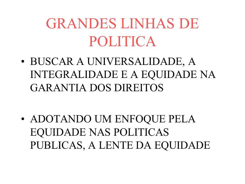 GRANDES LINHAS DE POLITICA
